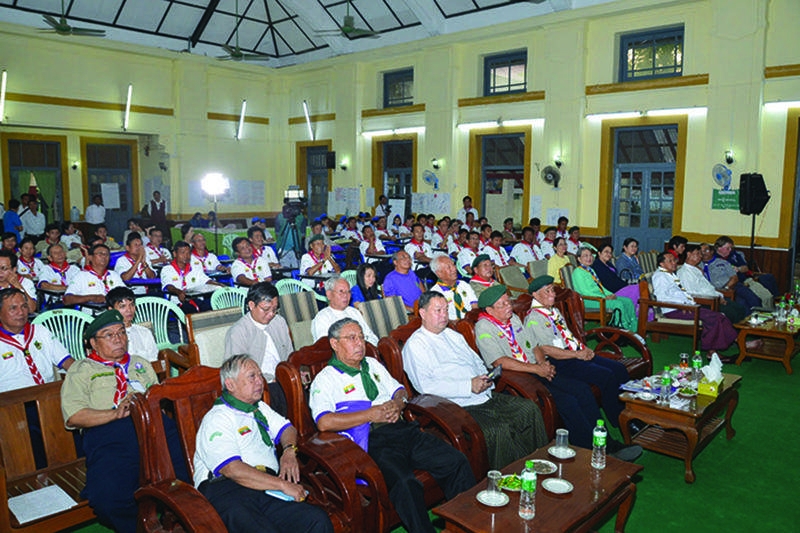 Myanmar scouts are seen at the concluding ceremony of strategy development workshop.