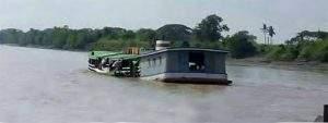 Cargo vessel sinking in Twantay Canal. Photo: Aung Min (Dala)