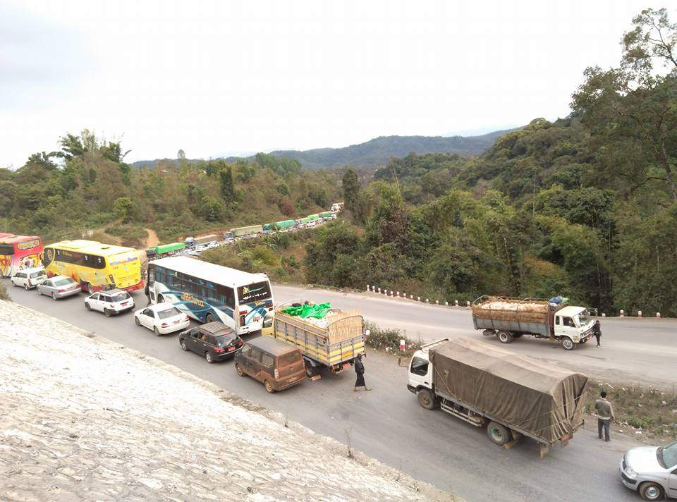 Cargo trucks are seen using Mandalay-Muse road daily.
