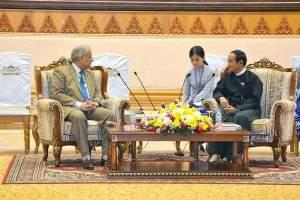 Speaker of Pyithu Hluttaw U Win Myint meets Mian Raza Rabbani, the Speaker of the Senate of the Islamic Republic of Pakistan. Photo: MNA