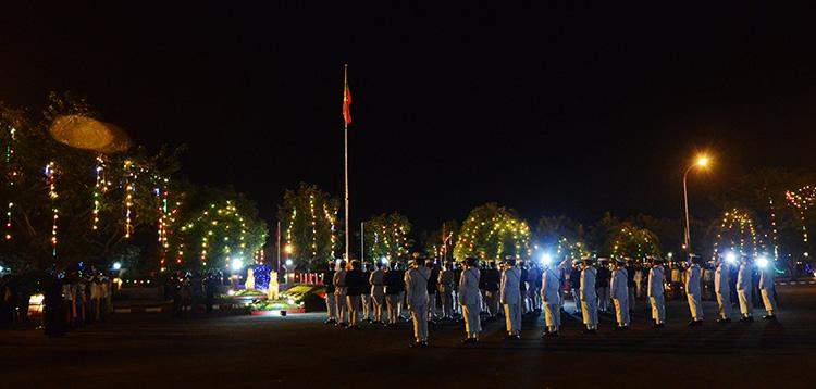 The State Flag is hoisted in the early morning at a ceremony to celebrate 69th Union Day in Nay Pyi Taw on 12 February.