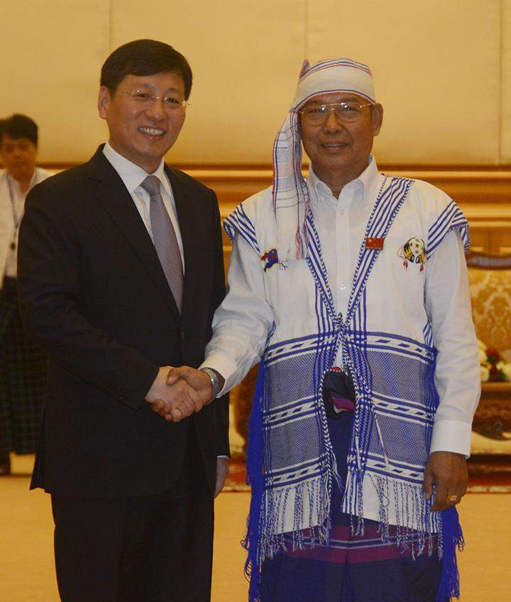 Speaker Mahn Win Khaing Than welcomes Chinese Ambassador to Myanmar Mr. Hong Lian.
