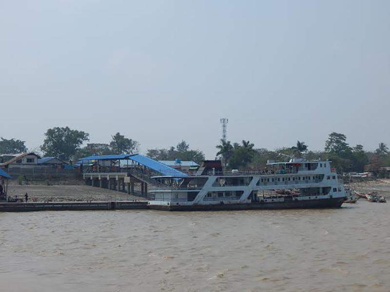 A ferry is seen at Dalla Jetty. Photo: Tin Hla Maung