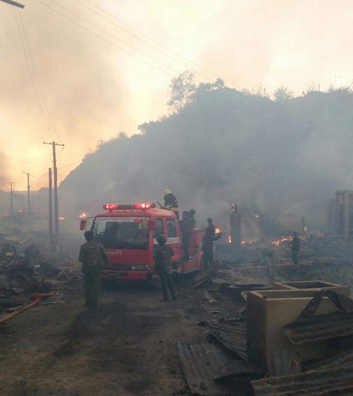 Firefighters extinguish remanants of fire in Namhsan.
