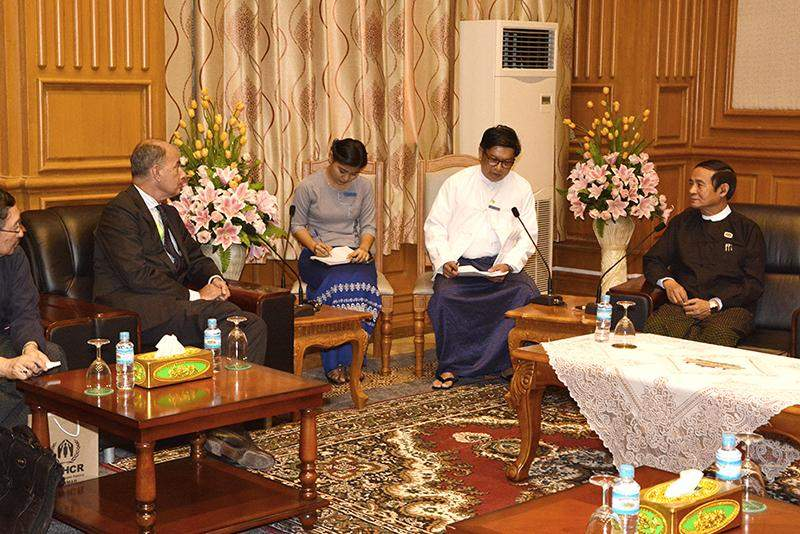 Pyithu Hluttaw Speaker U Win Myint receives Resident Representative of United Nations High Commissioner for Refugees in Myanmar Mr. Giuseppe de Vincentiis. Photo: Myanma News Agency