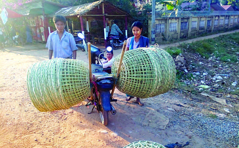 Bamboo Baskets being carried on a motorbike.
