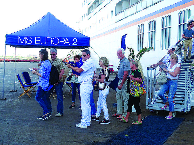 Tourists arrive at Thilawa Port by Cruise Liner MS Europa 2.
