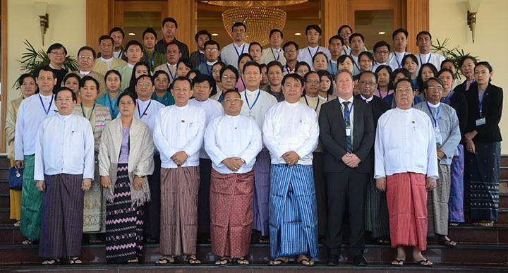 Participants of Workshop on public awareness of ASEAN Community pose for photo together with Union ministers and digintaries.