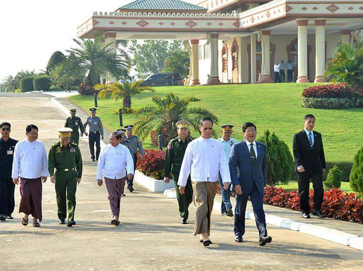 Vice President U Nyan Tun is seen off by Vice President Dr Sai Mauk Kham as he departs from Nay Pyi Taw to the United States of America.