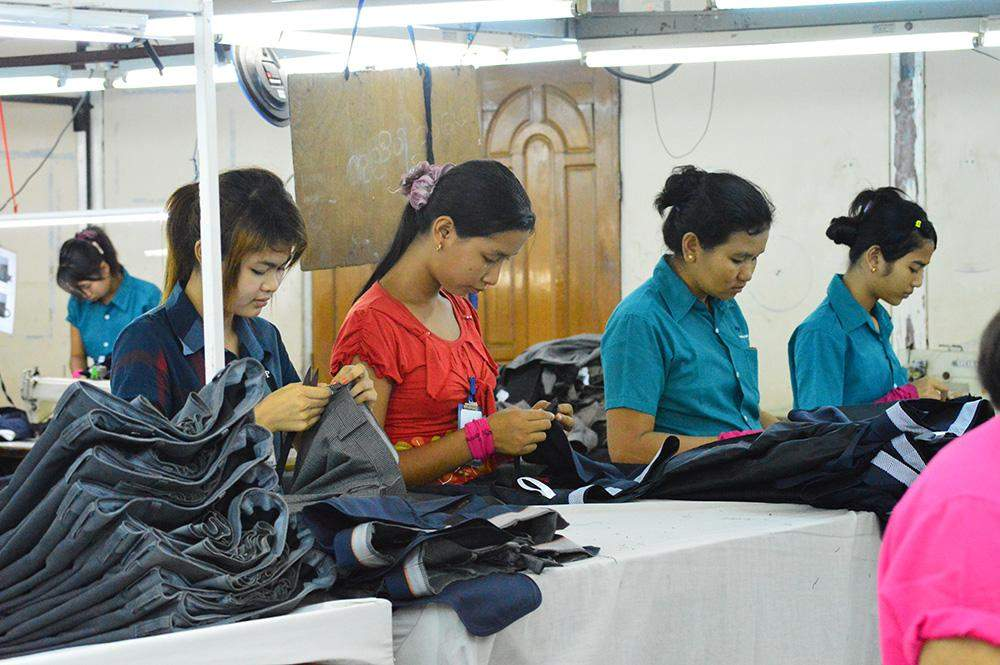 Workers at production line of a factory in Yangon. Photo: Aye Min Soe