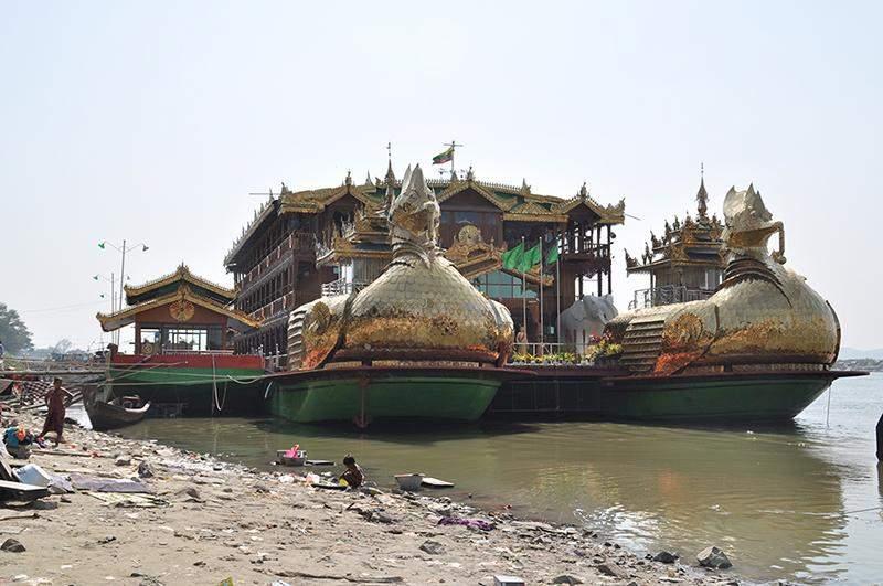 Floating Karaweik barge in the Ayeyawady River. Photo: Aung Thant Khaing