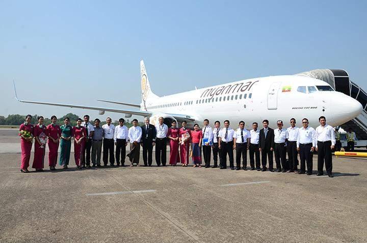 Boeing 737-800 NG arrives at Yangon International Airport.