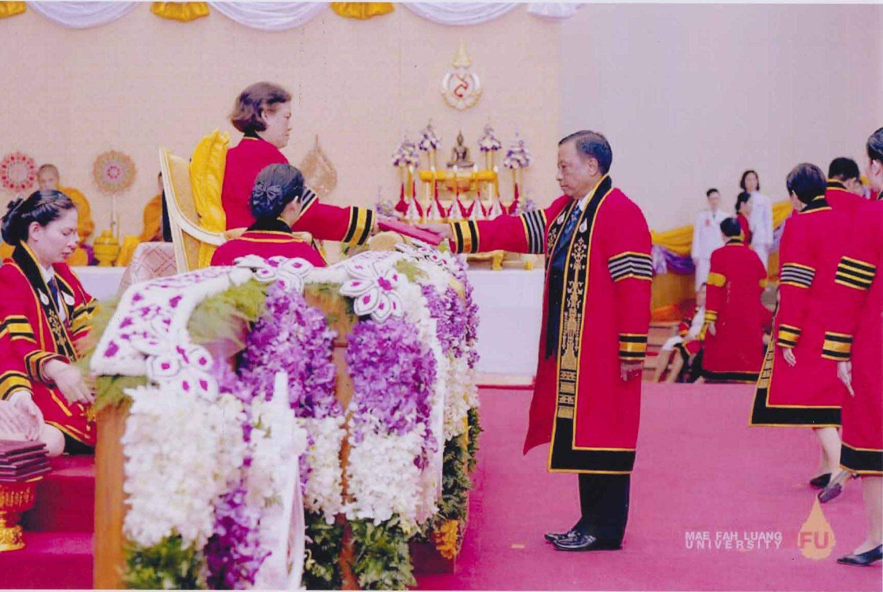 PhD in Social Science is being conferred on Union Minister U Htay Aung by Her Royal Highness Princess Maha Chakri Sirindhorn. Photo: MNA