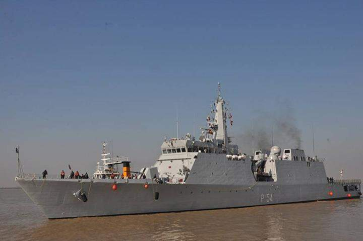 Indian naval ship is seen during a port call to Myanmar.
