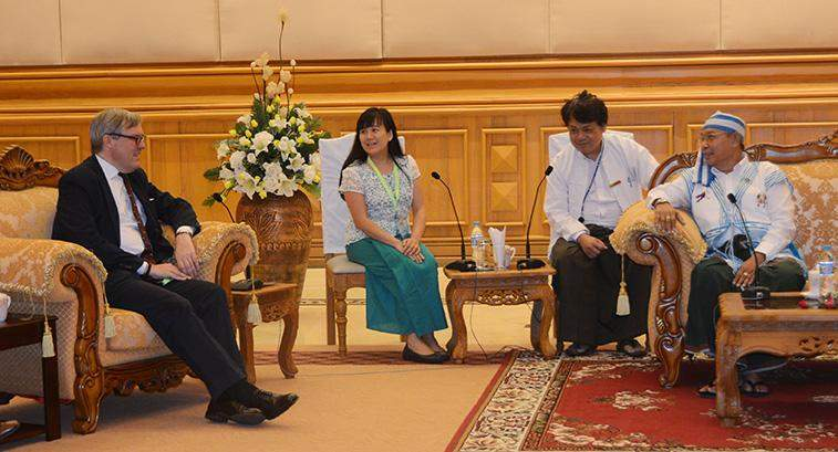 Speaker Mahn Win Khaing Than receives British Ambassador to Myanmar Mr Andrew Patrick.