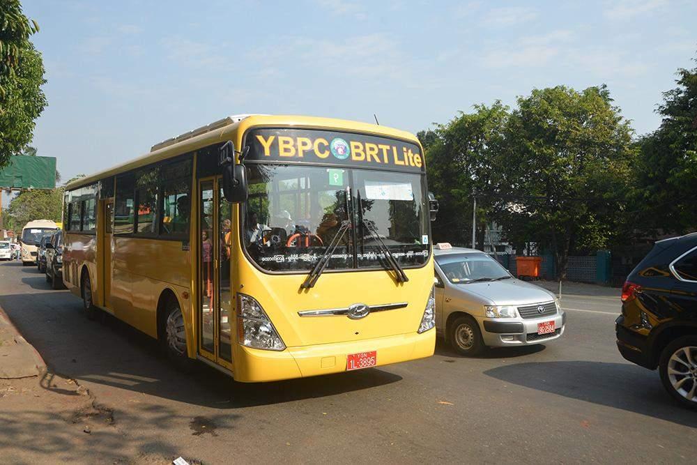 A BRT Bus seen playing. Photo: Khin Maung Win