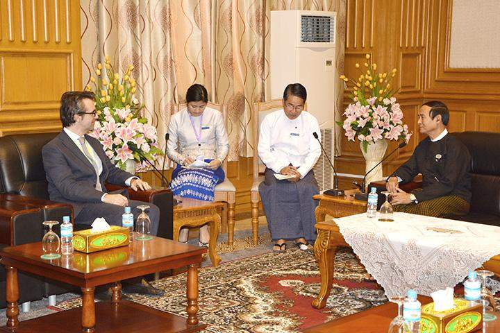 Speaker U Win Myint receives Ambassador of Italy to Myanmar Mr Pier Giorgio.