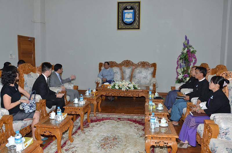 Union Attorney-General Dr Tun Shin holds talks with Ambassador Mr. Hong Liang. Photo: MNA