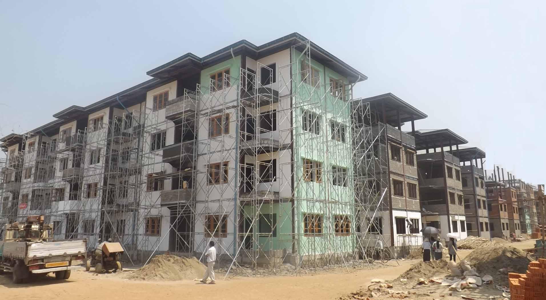 Buildings in Maha Bangoola Housing Complex are under construction. Photo: Shein Khet