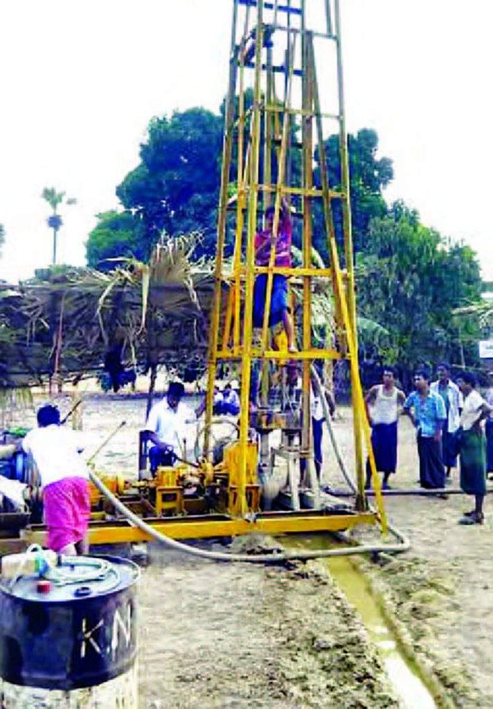 A tube-well being dug in Indaw village, Natmauk Township.