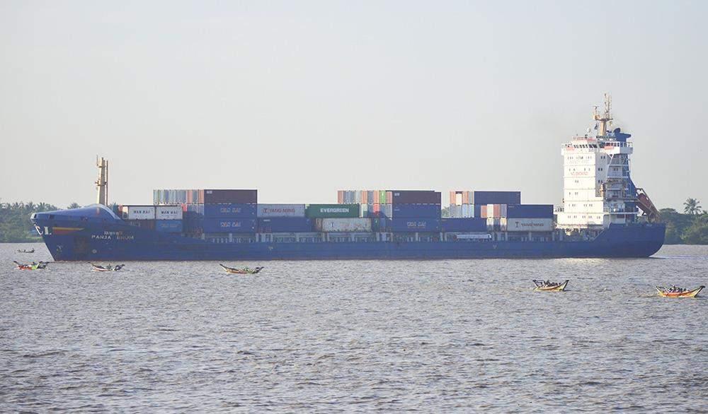 A cargo vessel is seen in the Yangon River. Photo: Aye Min Soe