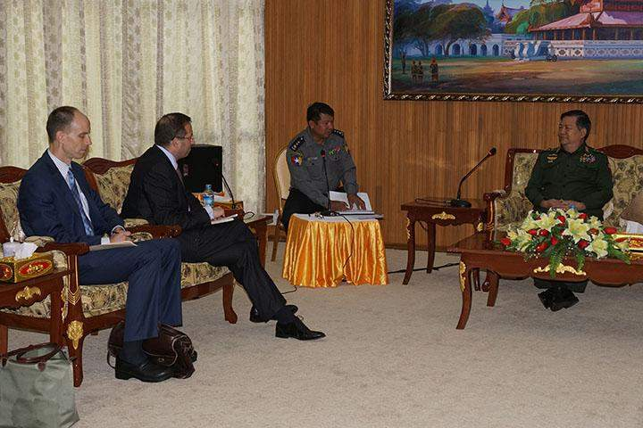 Home Affairs Minister Lt-Gen Ko Ko holds talks with Mr Derek Mitchell, outgoing Ambassador of the United States.