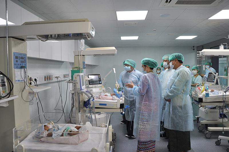 Union Minister for Health Dr Than Aung inspects Yankin Children's Hospital.