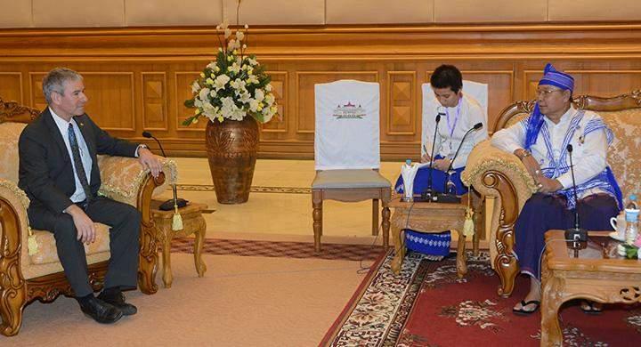 Speaker Mahn Win Khaing Than receives Israeli Ambassador Mr. Daniel Zonshine.