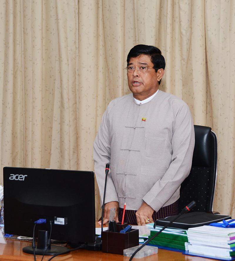 Vice President U Nyan Tun delivers speech at the meeting of the rural development and poverty alleviation work committee. Photo: MNA