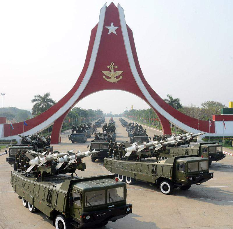 Missile carriers are seen at the 71st Anniversary Armed Forces Day in Nay Pyi Taw. Photo: MNA