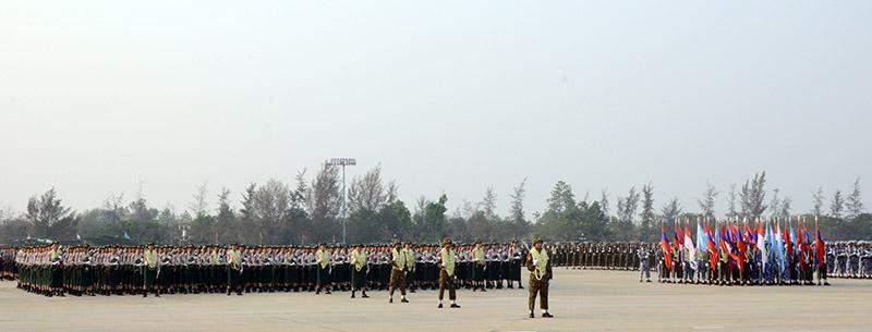 Columns participate in the parade of 71st Anniversary Armed Forces Day in Nay Pyi Taw. Photo: MNA