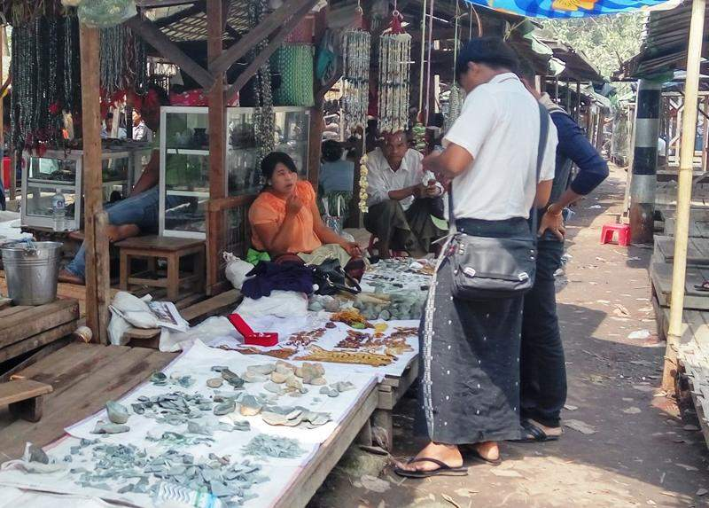 Low-cost souvenirs made of jades sell well in the gift shops. Photo: Aung Thant Khaing