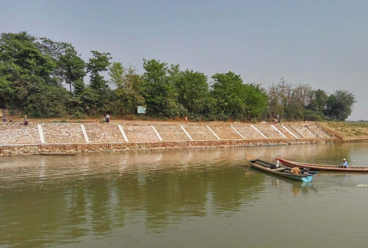 Preventive measures against errosion of the Ayeyawady River is completed.  Photo: Aung Thant Khaing