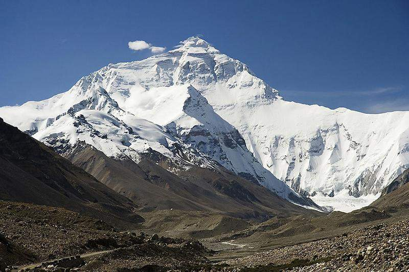The north face of Mt. Everest seen.