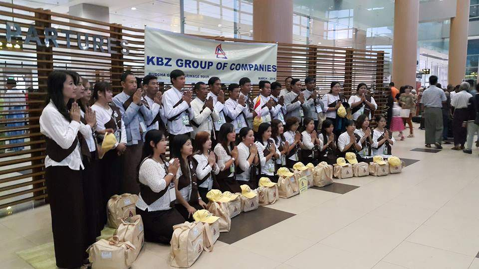 Staff from KBZ are seen at Yangon International Airport before depart for Bodh Gaya. Photo: KBZ