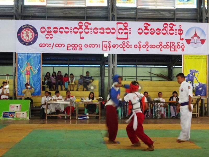 Myanmar Thaing Bando Competition in progress. Photo: Thiha Ko Ko (Mdy)