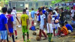 Trainees of football training course being seen. Photo: Myo Min Thein (Mayangon)