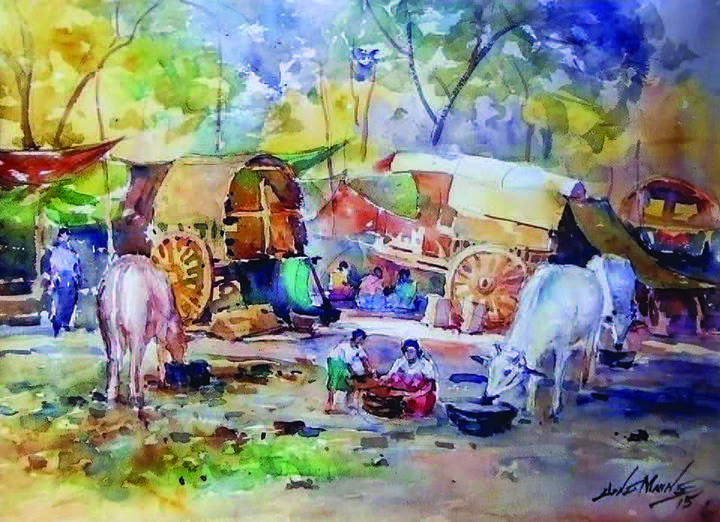 A painting from Chindwin Yaykyi artist's exhibition seen.