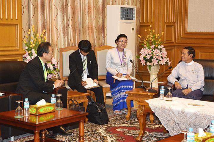 Speaker U Win Myint holds talk with Japanese Ambassador Mr Tateshi Higuchi.