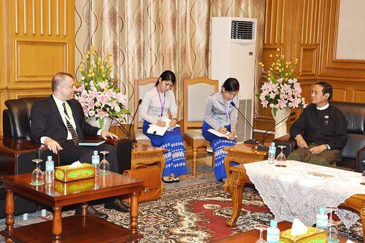 Speaker U Win Myint meets French Ambassador to Myanmar Mr. Oliver Richard.