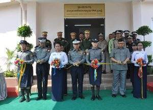 Police Major General Zaw Win and officials cut ribbons at the opening of the new DNA Branch. Photo: Ye Zarni