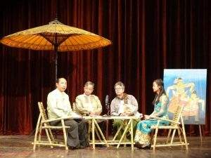 Participants discuss marionette on stage. Photo: Thiha Ko Ko