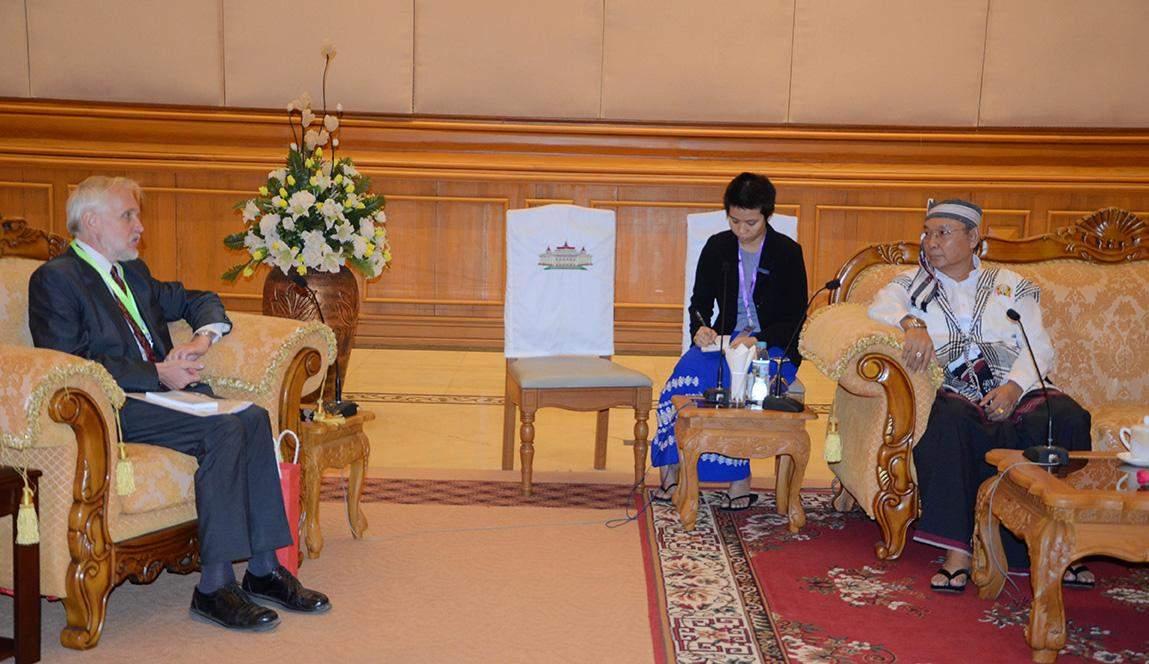 Mahn Win Khaing Than receives Mr. Miroslaw Zasada in Nay Pyi Taw. Photo: MNA