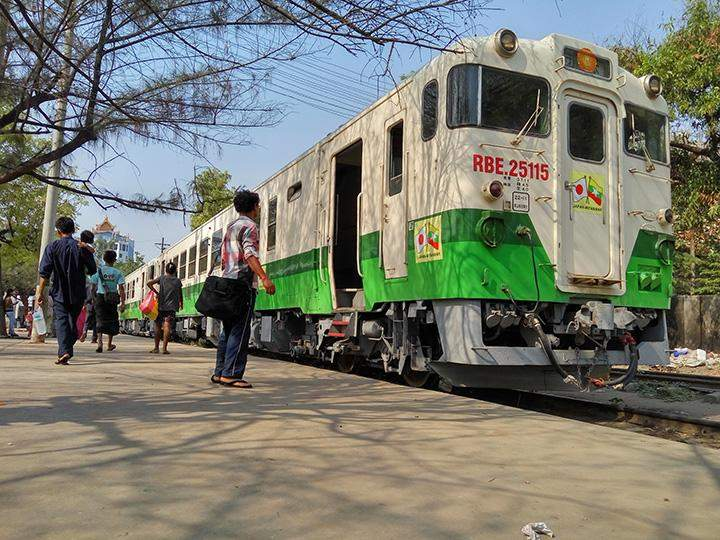 RBE train is seen in Mandalay Raiulways Station.