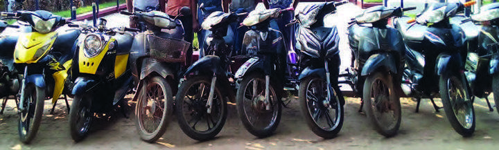 The confiscated motorcycles being seen.
