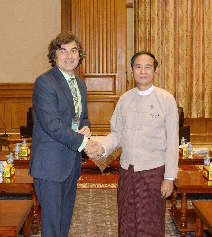 Speaker U Win Myint welcomes Chargé d' Affaires a.i. Mr. Alberto Cerezo Sobrino of the Embassy of Spain.