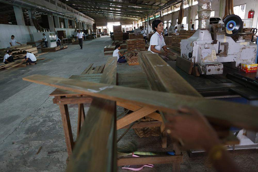 A wood parquet factory in Yangon being seen. Photo: Reuters