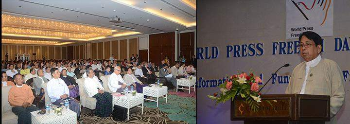 Union Minister for Information Dr Pe Myint seen talking to mark World Press Freedom Day.