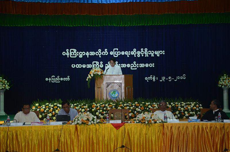 In his address at the first coordination meeting of ministry spokespersons in Nay Pyi Taw yesterday, Union Minister for Information Dr Pe Myint said qualified spokespersons will enhance the image of the ministries and the government, stressing the role of media in connecting people to the government by serving as a public voice. Photo: MNA