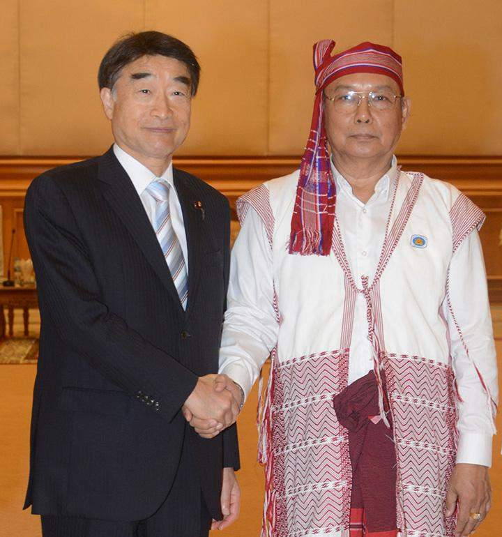 Speaker Mahn Win Khaing Than welcomes Mr Takumi Nemoto, MP of the House of Representatives of the parliament of Japan.
